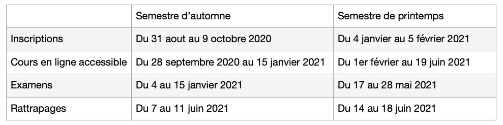 Calendrier EàD 2020-2021
